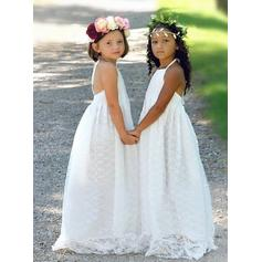 Chic Halter A-Line/Princess Flower Girl Dresses Sweep Train Lace Sleeveless