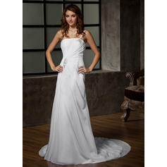 One Shoulder A-Line/Princess Wedding Dresses Chiffon Ruffle Beading Sleeveless Court Train