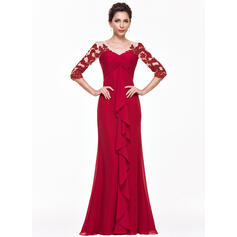 Empire V-neck Floor-Length Chiffon Evening Dress With Appliques Lace Cascading Ruffles (017065560)