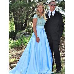 Ball-Gown Satin Prom Dresses Beading Scoop Neck Short Sleeves Sweep Train (018148465)