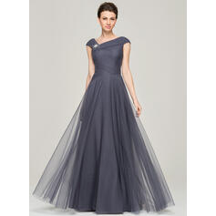 A-Line/Princess V-neck Floor-Length Tulle Evening Dress With Ruffle Beading Sequins (017092343)