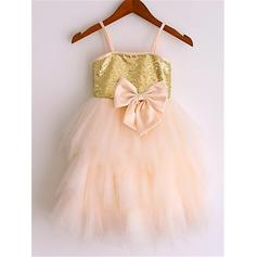 A-Line/Princess Straps Knee-length With Bow(s) Tulle/Sequined Flower Girl Dresses