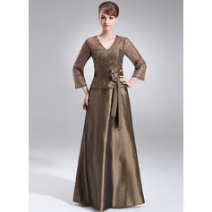 A-Line/Princess Taffeta 3/4 Sleeves V-neck Floor-Length Zipper Up Mother of the Bride Dresses