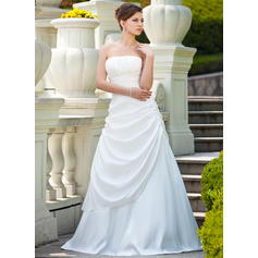 A-Line/Princess Taffeta Sleeveless Strapless Sweep Train Wedding Dresses (002000692)