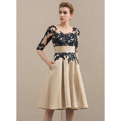 A-Line Scoop Neck Knee-Length Satin Lace Cocktail Dress With Pockets