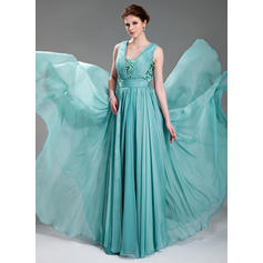 A-Line/Princess V-neck Floor-Length Evening Dresses With Ruffle Beading Appliques Lace