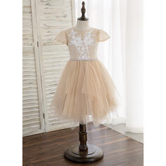 A-Line/Princess Knee-length Flower Girl Dress - Tulle/Lace Short Sleeves Scoop Neck With Sequins