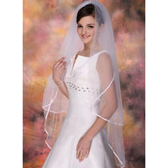Waltz Bridal Veils Tulle Two-tier Oval With Ribbon Edge Wedding Veils