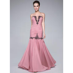 Trumpet/Mermaid Sweetheart Floor-Length Prom Dresses With Ruffle Beading Appliques Lace (018041148)