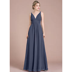 Empire V-neck Floor-Length Chiffon Bridesmaid Dress With Ruffle (007105579)