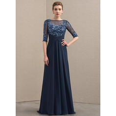 A-Line/Princess Scoop Neck Sweep Train Chiffon Lace Mother of the Bride Dress With Ruffle