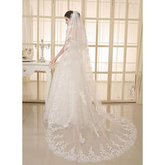 Cathedral Bridal Veils Tulle/Lace One-tier Oval With Lace Applique Edge Wedding Veils