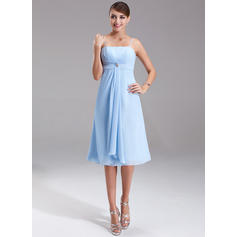 Empire Chiffon Bridesmaid Dresses Crystal Brooch Cascading Ruffles Sleeveless Knee-Length