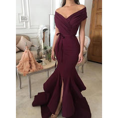 Trumpet/Mermaid Off-the-Shoulder Sweep Train Prom Dresses With Ruffle (018211723)