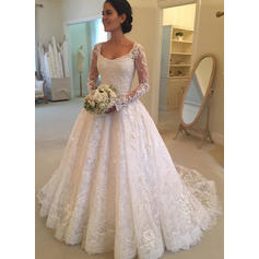 Ball-Gown Lace Long Sleeves Scoop Cathedral Train Wedding Dresses