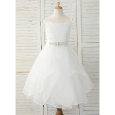 A-Line Tea-length Flower Girl Dress - Organza/Lace Sleeveless Straps With Rhinestone