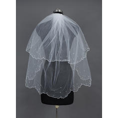Fingertip Bridal Veils Tulle Two-tier Classic With Scalloped Edge/Beaded Edge Wedding Veils
