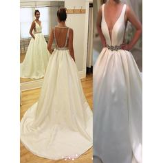 A-Line/Princess V-neck Court Train Wedding Dresses With Ruffle Sash Beading