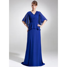 A-Line/Princess Chiffon 1/2 Sleeves V-neck Sweep Train Zipper Up Mother of the Bride Dresses