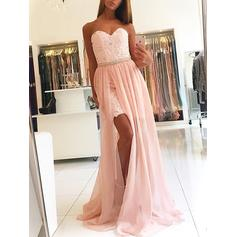 A-Line/Princess Sweetheart Sweep Train Prom Dresses With Lace