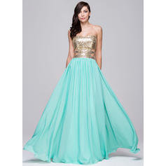 A-Line/Princess Sweetheart Floor-Length Prom Dresses With Beading (018064191)