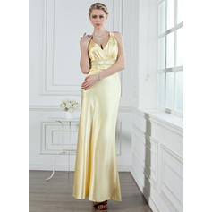 A-Line/Princess V-neck Ankle-Length Evening Dresses With Ruffle Beading (017002611)