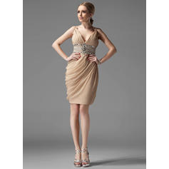 Sheath/Column V-neck Knee-Length Cocktail Dresses With Ruffle Beading