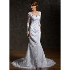 Trumpet/Mermaid Sweetheart Chapel Train Wedding Dresses (002211044)