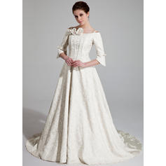A-Line/Princess Off-The-Shoulder Chapel Train Wedding Dresses With Ruffle Beading Flower(s)