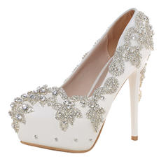 Women's Closed Toe Pumps Stiletto Heel Real Leather With Rhinestone Wedding Shoes