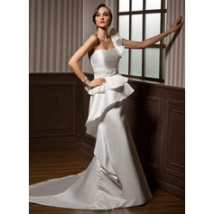 Beautiful One Shoulder Trumpet/Mermaid Wedding Dresses Chapel Train Satin Sleeveless