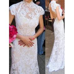 Trumpet/Mermaid Lace Sleeveless High Neck Sweep Train Wedding Dresses