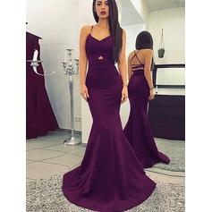 Trumpet/Mermaid V-neck Sweep Train Prom Dresses With Ruffle (018211557)