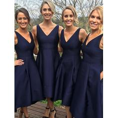 A-Line/Princess Satin Bridesmaid Dresses Ruffle V-neck Sleeveless Asymmetrical