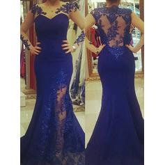 Trumpet/Mermaid Satin Prom Dresses Appliques Lace Scoop Neck Sleeveless Sweep Train