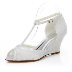Women's Peep Toe Sandals Wedge Heel Lace Wedding Shoes