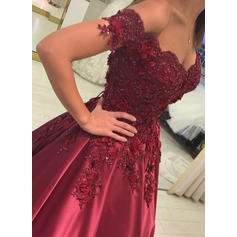 Ball-Gown Satin Prom Dresses Beading Appliques Lace Off-the-Shoulder Sleeveless Floor-Length