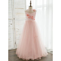 A-Line/Princess Floor-length Flower Girl Dress - Organza/Tulle Sleeveless Scoop Neck With Flower(s)/Rhinestone