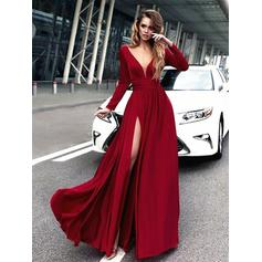 A-Line/Princess V-neck Floor-Length Chiffon Evening Dresses With Ruffle