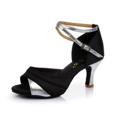 Women's Latin Heels Sandals Satin Leatherette With Ankle Strap Dance Shoes