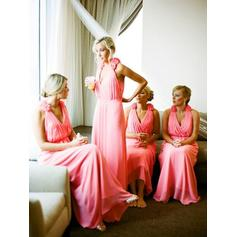 A-Line/Princess Chiffon Bridesmaid Dresses Ruffle Flower(s) Halter Sleeveless Floor-Length (007144967)