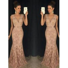 Fashion Lace Evening Dresses Trumpet/Mermaid Sweep Train V-neck Sleeveless