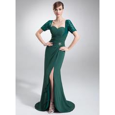 Trumpet/Mermaid Sweetheart Asymmetrical Mother of the Bride Dresses With Ruffle Beading Split Front (008005679)
