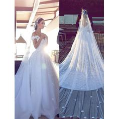 Flattering Off-The-Shoulder Ball-Gown Wedding Dresses Cathedral Train Tulle Lace Sleeveless