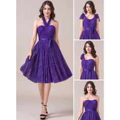 A-Line/Princess Sweetheart Knee-Length Bridesmaid Dresses With Ruffle Bow(s) (007057696)