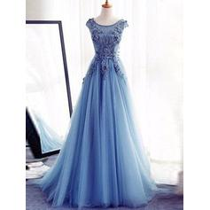 Luxurious Tulle Evening Dresses A-Line/Princess Floor-Length Scoop Neck Sleeveless (017196705)