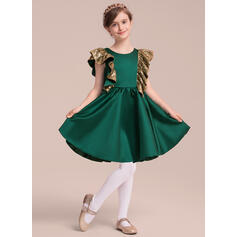 A-Line/Princess Knee-length Flower Girl Dress - Satin/Sequined Sleeveless Scoop Neck With Ruffles/Bow(s)