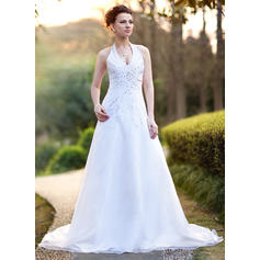 A-Line/Princess Halter Chapel Train Wedding Dresses With Beading Sequins (002000386)