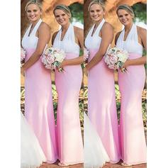 Sheath/Column Halter Floor-Length Bridesmaid Dresses
