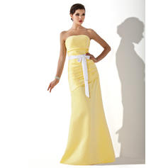 A-Line/Princess Satin Bridesmaid Dresses Ruffle Sash Bow(s) Strapless Sleeveless Floor-Length